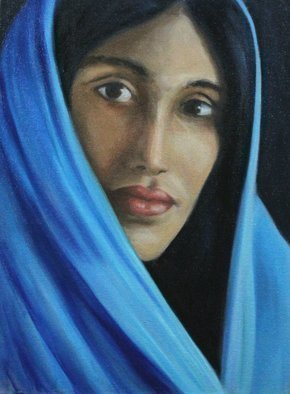 Angel Cruz: 'Blue Saree', 2012 Oil Painting, Representational. Artist Description: Puerto RicoThis painting is a small oil on wood panel study where I wanted to capture the facial features of a young middle eastern woman. ...