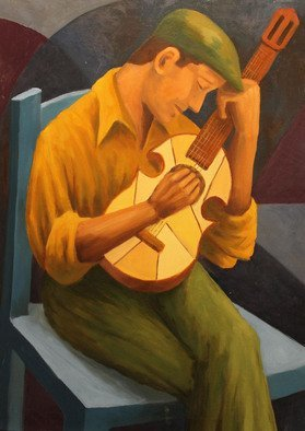 Angel Cruz: 'Cuatro Player 4', 2015 Oil Painting, Representational. Artist Description: This is an oil painting on stretched canvas.  A man playing a stringed instrument in solitude with an indistinct background.  A familiar theme of mine. ...
