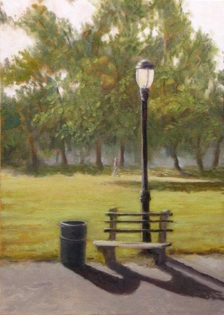 Park Bench Oil Painting By Angel Cruz Absolutearts Com