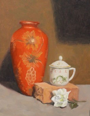Angel Cruz: 'Still Life w Red Vase', 2017 Oil Painting, Representational. The vase and the tea cup both have an Asian design.  Oil painting on wood panel. ...
