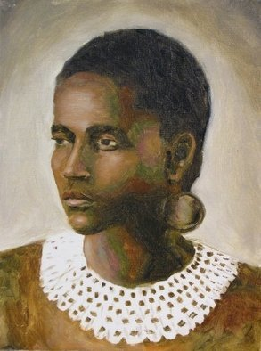 Angel Cruz: 'Young Zulu Woman', 2010 Oil Painting, Representational. Artist Description: An oil painting on wood panel of a young and attractive African Zulu woman.  The idea here was to use colors to represent the lovely African woman s skin tone. ...