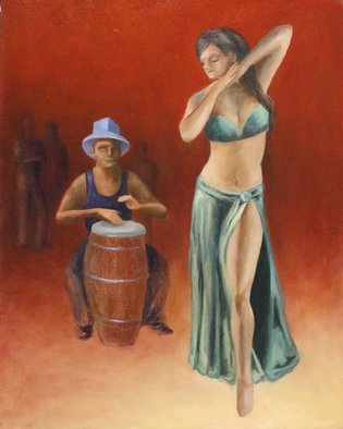 Angel Cruz: 'drum dance', 2014 Oil Painting, Representational. Artist Description: A female dances to the beat of a conga drummer with a few observers in the background. This is an oil painting on a wood panel. ...