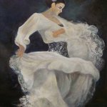 Flamenco in white 2 By Sylva Zalmanson