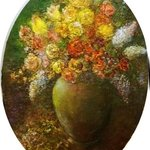 Flowers in a green vase By Sylva Zalmanson