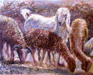 Animals Mixed Media by Sylva Zalmanson Title: Goat with sheep, created in 2010