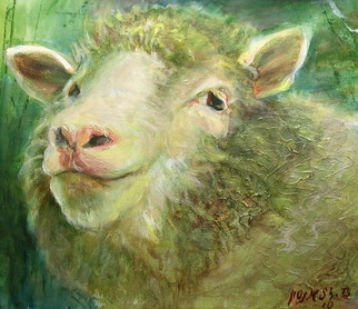 Animals Acrylic Painting by Sylva Zalmanson Title: Sheep 10, created in 2010