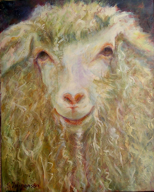 Animals Acrylic Painting by Sylva Zalmanson Title: Sheep 15, created in 2010