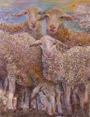 Animals Mixed Media by Sylva Zalmanson Title: Sheeps8, created in 2007
