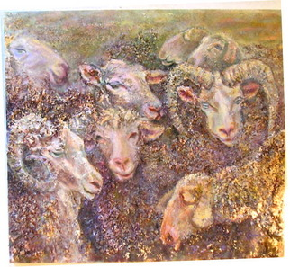 Animals Mixed Media by Sylva Zalmanson Title: Sheeps9, created in 2007
