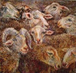 Animals Mixed Media by Sylva Zalmanson Title: SheepsX, created in 2004