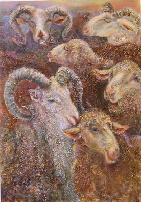 Animals Mixed Media by Sylva Zalmanson Title: SheepsXXX, created in 2007