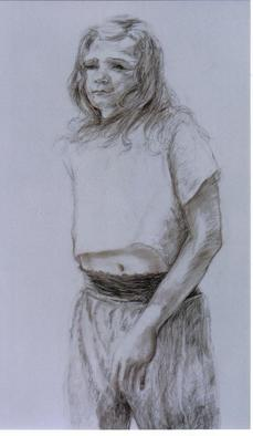 Portrait Charcoal Drawing by Sylva Zalmanson Title: The girl 4, created in 2000