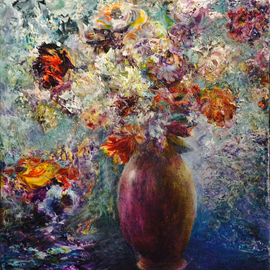 Sylva Zalmanson: 'Winter flowers', 2015 Acrylic Painting, Floral. Artist Description:    still life with flowers in a purple vase     ...