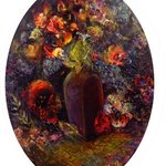 still life with flowers in a vase   By Sylva Zalmanson