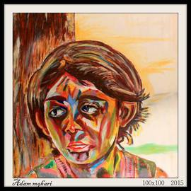 Adam Mghari Artwork Small worries, 2015 Acrylic Painting, Children