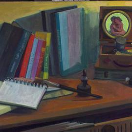 Adeline Goldminc Tronzo: 'STUDIO TABLE', 2006 Oil Painting, Still Life.