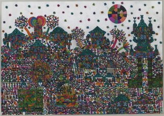 Adib Fattal Artwork A VILLAGE WITH BEDOUINS, 2009 A VILLAGE WITH BEDOUINS, Naive
