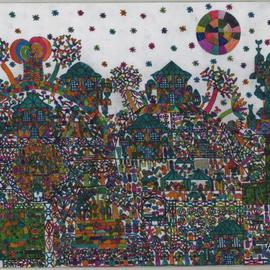 Adib Fattal Artwork A VILLAGE WITH BEDOUINS, 2009 Other, Naive