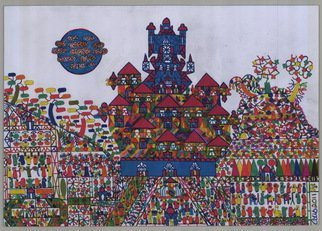 Adib Fattal: 'A barber race', 2011 Marker Drawing, Undecided.  A  Middleeastern Primitive Naive Folk school of art, International art, Islamic art, Syrian art, Arab art. ...