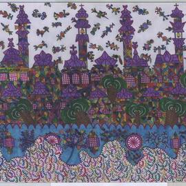 Adib Fattal Artwork A city over clouds, 2008 Marker Drawing, Naive
