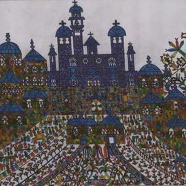 Adib Fattal Artwork A cross in a church square, 2008 Marker Drawing, Naive