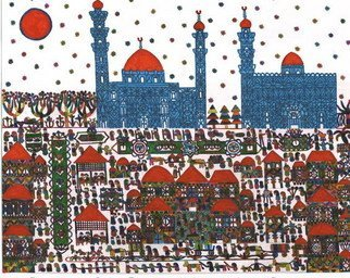 Adib Fattal Artwork The Sultan Hasan Mosque in Egypt, 2007 Marker Drawing, Naive