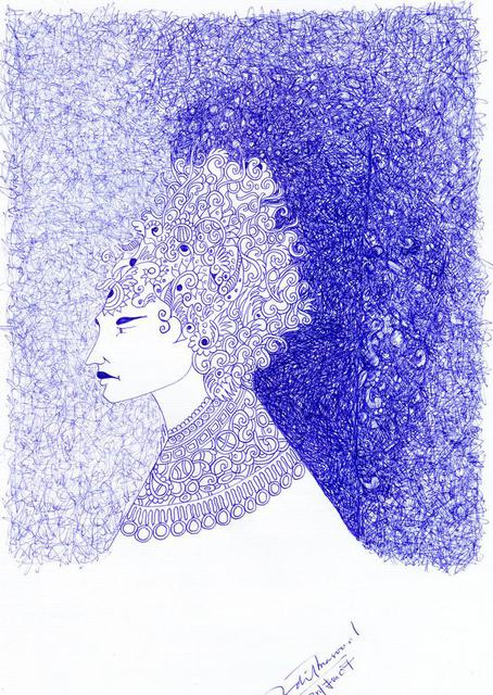 Adil Masood  'Waiting Queen', created in 2007, Original Drawing Pen.