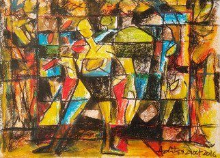 Aditya Dev Artwork life in different blocks, 2016 Oil Pastel, Abstract