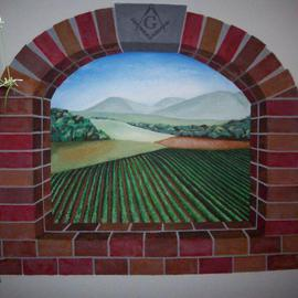 Leslie Zahn: 'Vineyard Mural', 2008 Acrylic Painting, Scenic. Artist Description:  I was commissioned to paint a private mural. I got to know the client and we decided to incorporate his interests. He is a free mason and a wine connoisseur. I  suggested some sketches and ideas and chose to portray a brick arch window looking upon a vineyard ...