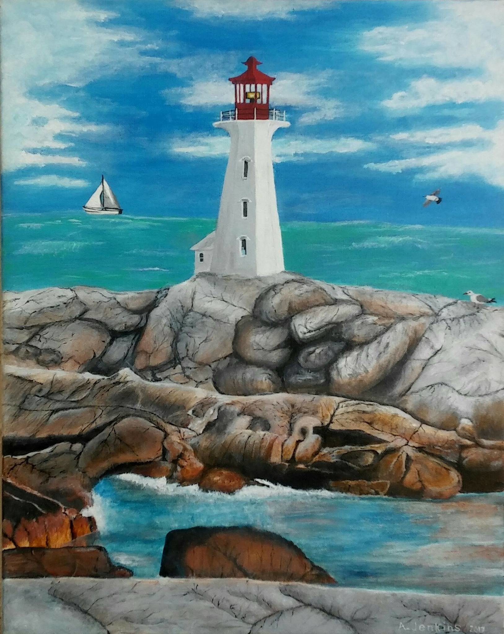 Althea E Jenkins Artwork Ghost in a Lighthouse, 2017 Acrylic Painting, People