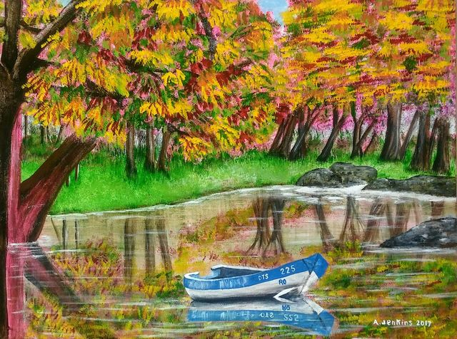 Althea E Jenkins  'Autumn Pond', created in 2017, Original Painting Acrylic.