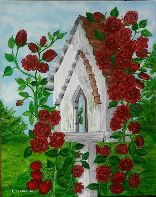 Althea E Jenkins  'Bird House With Climbing Roses', created in 2017, Original Painting Acrylic.