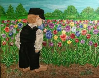 Althea E Jenkins Artwork boy and a field of tulips, 2017 Acrylic Painting, People