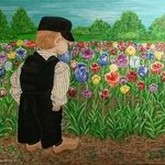 boy and a field of tulips By Althea E Jenkins