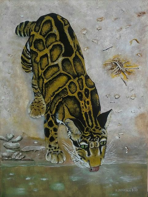 Althea E Jenkins  'Clouded Leopard', created in 2017, Original Painting Acrylic.