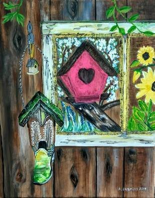 Althea E Jenkins: 'country bird houses', 2017 Acrylic Painting, Country. Artist Description: Bird Houses...