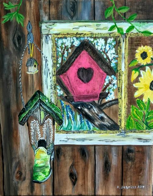 Althea E Jenkins  'Country Bird Houses', created in 2017, Original Painting Acrylic.