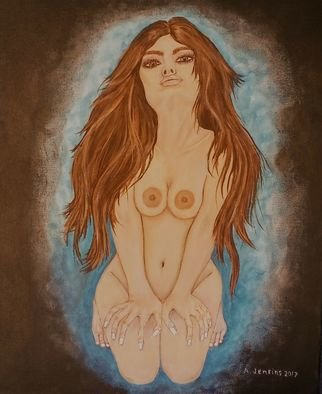 Althea E Jenkins: 'dark haired beauty', 2017 Acrylic Painting, Nudes. Artist Description: dark haired Nude...