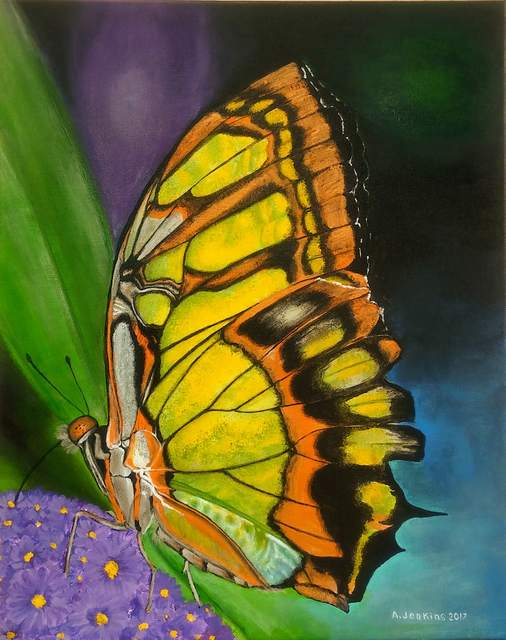 Althea E Jenkins  'Malachite Butterfly', created in 2017, Original Painting Acrylic.