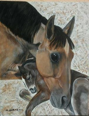 Althea E Jenkins: 'mare and colt', 2017 Acrylic Painting, Animals. Artist Description: Horses...