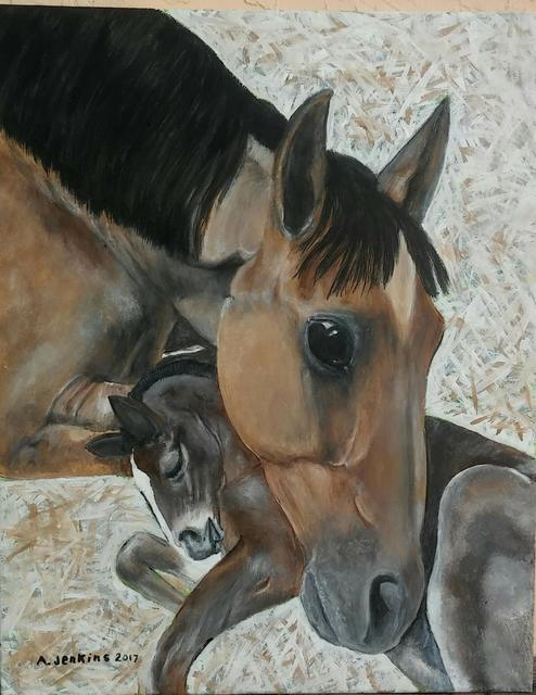 Althea E Jenkins  'Mare And Colt', created in 2017, Original Painting Acrylic.