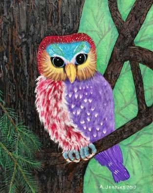 Althea E Jenkins: 'owl of many colors', 2017 Acrylic Painting, Birds. Artist Description: Owl...