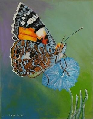 Althea E Jenkins: 'painted lady butterfly', 2017 Acrylic Painting, Animals. Artist Description: Butterfly...