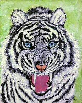 Althea E Jenkins Artwork white tiger with blue eyes, 2017 Acrylic Painting, Animals