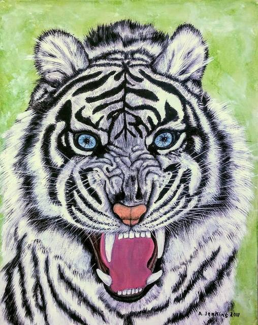 Althea E Jenkins  'White Tiger With Blue Eyes', created in 2017, Original Painting Acrylic.