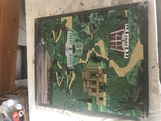 Paula Fell: 'Griffith Park', 2020 Mosaic, Abstract Landscape. Featuring Ennis House, The Greek Theater, The Griffith Observatory and the ancient Morton fig tree on Vermont Avenue.Custom framed in a heavy unburnished metal Cost 85. ...