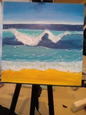 Afifa Rida: 'waves', 2018 Acrylic Painting, Beach.