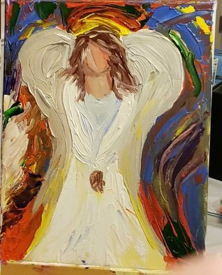 Faye Newsome: 'angel thoughts', 2019 Acrylic Painting, Religious. Artist Description: Angel Thoughts is about how everyday we should all try to think like our angels and be grateful for all that we have. ...