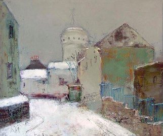 Landscape Acrylic Painting by Igor Agava Title: Snow on Montmartre , created in 2008