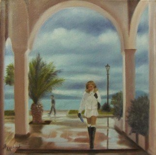Ageliki Alexandridou: 'a moody day by ageliki', 2016 Oil Painting, Cityscape. Artist Description: Series Preveza cityPreveza is a beautiful town at the western part of Greece. It is by the sea, almost like an island, and offers amazing scenes to paint. . . My model s name is Zoi and she s a poem herself.Additional info- Varnished and signed- Original, ships ...